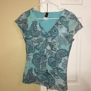 Beautiful aqua blue knit blouse